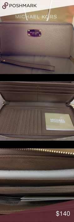 Michael Kors Continental Wristlet This wristlet wallet is a beauty! It is a Dark Khaki Jet Set continental in leather. Purchased at the Michael Kors outlet, this wallet comes with tags. Reasonable offers considered 🎀 MICHAEL Michael Kors Bags Clutches & Wristlets