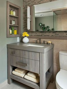 Off Center Sink Placement For Tiny Bathroom So More Counter Space Available Goodbye Trending Protruding