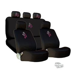 New Embroidery Multi Pink Red Love Heart Car Seat Covers and Headrest Cover Gift Set *** To view further for this item, visit the image link.Note:It is affiliate link to Amazon. #miami
