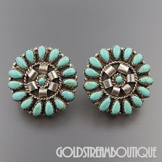 MARC BEGAY NAVAJO 925 SILVER TURQUOISE PETIT POINT ROUND CLUSTER POST EARRINGS