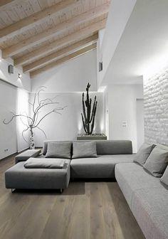 Modern Gray Living Room Luxury Modern Gray sofa In the Living In A Modern attic Room Living Room Grey, Living Room Modern, Living Room Interior, Home And Living, Living Room Designs, Living Room Decor, Living Rooms, Modern Interior, Home Interior Design