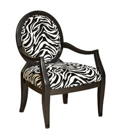Zebra Oval Back Accent Chair  Powell 502936 * Want additional info? Click on the image.