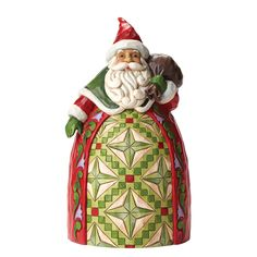 4046765 Goodwill To All (Santa with toybag)- This delightful Santa with bag is beautifully decorated with Jim Shores signature combination of quilting and folk-art motifs #festive #collectable #enesco