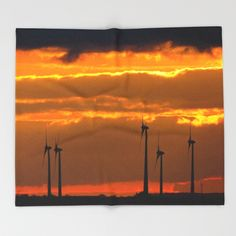 MM - Wind turbines in the sunset Throw Blanket Some wind turbines in front of a nice sundown  Landscape, cloudy, dark, light, orange, yellow, wind power, sunset, silhouettes, clouds
