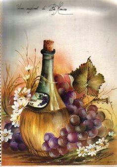 Painting of a bottle of wine wth grapes surrounding it. Wine Painting, Fruit Painting, Fabric Painting, Mosaic Pictures, Art Pictures, Cross Paintings, Watercolor Paintings, Art Du Vin, Images D'art