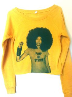 Erykah Badu Ladies Cropped Crew by roxieroyale on Etsy Mellow Yellow, Yellow Top, Pullover, Swagg, Fashion Looks, Gypsy Fashion, Dope Fashion, Street Fashion, Women's Fashion