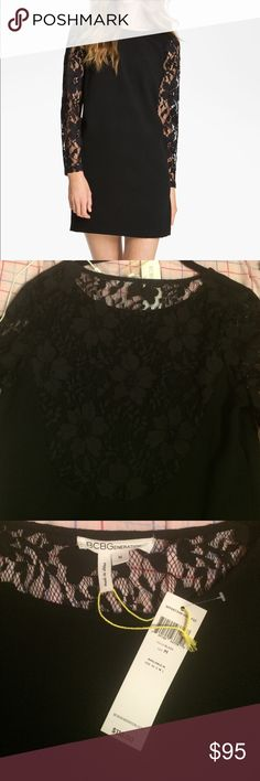 """NWT BGBGeneration Black dress with lace sleeves NWT BCBGeneration Black dress with lace long sleeves and lace back. Never been worn. 98% polyester 2% spandex so there's a little stretch to it! From the shoulder to the hem it is 35"""". Machine washable BCBGeneration Dresses"""