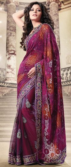 Rust, Magenta, Purple Shimmer Net Brasso Faux georgette Half Saree With Blouse @ $99.93 | Shop @ http://www.utsavfashion.com/store/sarees-large.aspx?icode=sdw1531a