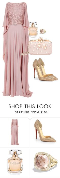 """""""Won't get married unless I'm in Elie"""" by juliaparmartin ❤ liked on Polyvore featuring Elie Saab, Christian Louboutin and David Yurman"""