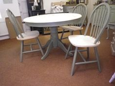 NEW LIFE TO OLD FURNITURE Country Style Dining Table and Chairs Painted in French Linen