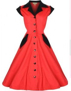 1144 red Dress With black collar 50's Rockabilly Flare Swing Retro Vintage