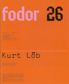 Fodor was designed for the covers of the magazine published by Museum Fodor in Amsterdam. The main text on the covers were set with an electric typewriter, and the monospaced typeface that it used created strong horizontal and vertical lines. Crouwel made these visible by using a regular pattern of pink dots on an orange background. He then used this grid to draw the letters fodor and a set of numbers.