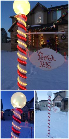 40+ Festive Outdoor Christmas Decorations | North pole sign, Pole ...