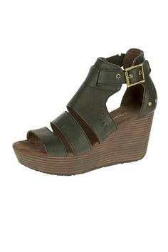 "This wedge sandal features buckles mini stitching and a front strap contrast. The style elongates legs so it looks great paired with shorts and dresses. We recommend ordering a 1/2 size down.  Wedge Heel: 3""  Destry Sandal by Cat Footwear. Shoes - Sandals - Heeled Wisconsin"