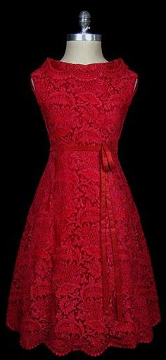 Valentino Red Lace Cocktail Dress. Pretty.