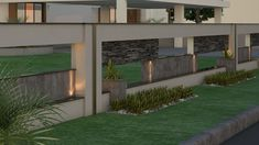 Only a handful of people are interested in making their boundary walls look as good as the exterior of their dwellings. House Front Wall Design, Fence Wall Design, Exterior Wall Design, House Outside Design, Fence Design, Modern Exterior, House Design, Railing Design, Boundry Wall
