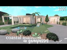 Bloxburg: Coastal Mini Mansion (No Gamepasses) Two Story House Design, Small House Design, Modern Family House, Beautiful House Plans, Roblox Pictures, One Story Homes, Best Build, Modern Mansion, Luxury House Plans