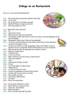 dilogo-en-un-restaurante. Spanish Practice, Learn Spanish Free, Spanish Games, Spanish Vocabulary, Spanish Words, Spanish Activities, Spanish Language Learning, How To Speak Spanish, Teaching Spanish