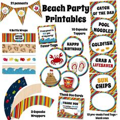$14 Beach Birthday Party Printables