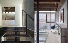 """A escada é formada por uma viga metálica central e degraus em madeira. O guarda-corpo de vidro confere """"some"""", conferindo leveza."""