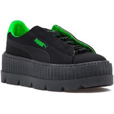 PUMA WOMEN'S Fenty X Puma Cleated Creeper Sneaker Black-Green Gecko ($140) ❤ liked on Polyvore featuring shoes, sneakers, laced up shoes, platform lace up shoes, platform shoes, black sneakers and black platform sneakers