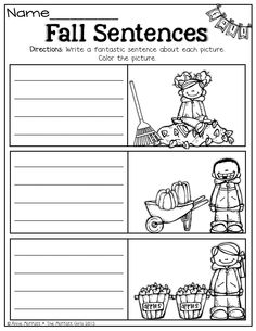 Write a sentence that describes each fall picture. #TPT