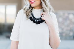 Color block style wearing a $14 color block dress and black statement necklace. Spring outfit from www.theredclosetdiary.com || Instagram: jalynnschroeder