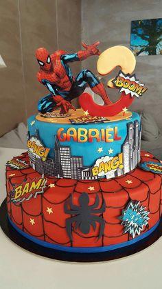 Spiderman Cake Topper, Spiderman Birthday Cake, Baby Birthday Cakes, Superhero Cake, Paw Patrol Birthday Cake, Twins Cake, 5th Birthday Party Ideas, Paper Cake, Just Cakes