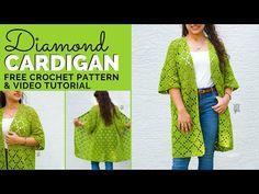 Diamond Cardigan - FREE Summer Cardigan Crochet Pattern | Yay For Yarn - YouTube Gilet Crochet, Crochet Cardigan Pattern, Crochet Jacket, Crochet Patterns, Beach Crochet, Free Crochet, Summer Cardigan, Summer Kimono, Kimono Cardigan