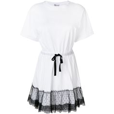 Red Valentino lace peplum hem T-shirt dress (12 515 UAH) ❤ liked on Polyvore featuring dresses, white, t shirt dress, short t shirt dress, white tee shirt dress, tee shirt dress and t-shirt dresses