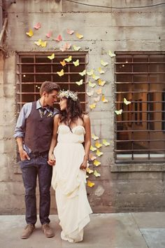 Such a pretty backdrop - paper butterflies fluttering about.