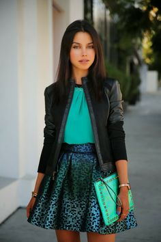 Vivaluxury In Black And Emerald Green Movado Bold Watch Nanette Lepore Leather Jacket