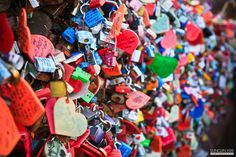 """Padlock of love"" Amazing colours. Love Lock, Seoul Korea, Love You Forever, Trip Planning, Got Married, Create Your Own, Tower, Symbols, Make It Yourself"