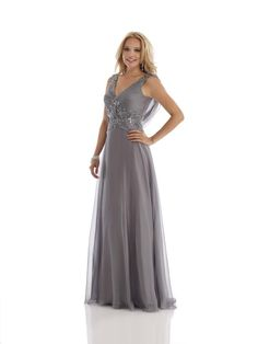 Grey V Neck Floor Length Chiffon A Line Mother Of The Bride Dress