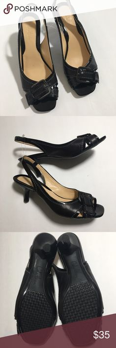 NWOT Cole Haan black Helena OT. slingback size 6 Cole Haan Helena OT. slingback size 6. Shoes are black with black patent trim and a black shiny buckle. No box, never been worn in perfect condition. Slingback  Kitten heel 2.5 inc Peep toe  Thanks for visiting my closet feel free to look around! Cole Haan Shoes Heels