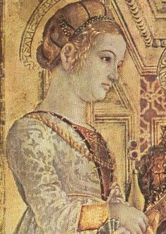 c. 1480s. Ippolita Maria Sforza, Duchess of Calabria, as St. Lucia (detail).