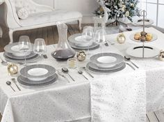 Assiette grise table de fete