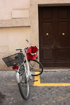 #White #Bike Via dei Pettinari #Door #Street #Sanpietrini #Yellow #Line #Parking #bicycle