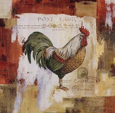 Colorful Roosters I, Art Print by Lisa Audit