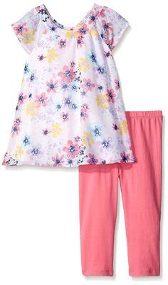 Kidtopia Little Girls' Multi Floral Print Chiffon Top with Legging Tunic Set, Azalea Pink, 4. Cap sleeves. Elastic on back of neck.