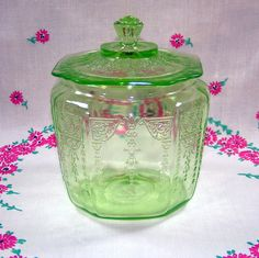 Green Depression Glass Cookie Jar - Hocking Glass Princess Pattern