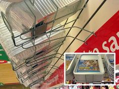 Cantilever slatwall (and probably pegboard-compatible) racks present assortments of disposable aluminum cookware trays from overhead in a supermarket. Slat Wall, Learn To Cook, You Changed, I Foods, Gardening Tips, Cooking Tips, Bring It On, Simple, Trays