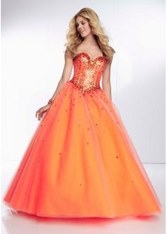 Ball Gown Sweetheart Long Orange Tulle Beaded Sparkly Prom Dress Corset Back Orange Prom Dresses, Sparkly Prom Dresses, Homecoming Dresses, Pretty Dresses, Beautiful Dresses, Formal Dresses, Dress Prom, Tulle Ball Gown, Ball Gowns Prom