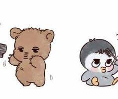 Jongin and Kyungsoo Kaisoo, Chanbaek, Kyungsoo, Kpop Drawings, Cute Drawings, Cute Chibi, Kawaii Chibi, Exo Cartoon, Exo Anime
