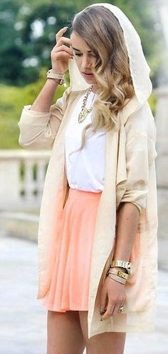 Cute Fashion Skirt and Hoodie Cardigan