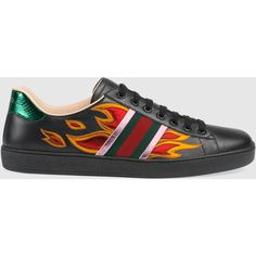 Gucci Ace Low-Top Sneaker With Flames ($610) ❤ liked on Polyvore featuring men's fashion, men's shoes, men's sneakers, men, shoes, sneakers, black, mens metallic gold sneakers, mens low profile shoes and mens black shoes