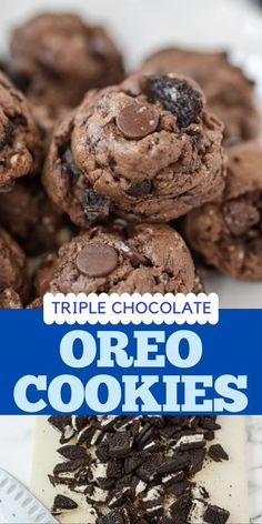 Cookie recipes 56787645293337066 - Triple Chocolate Oreo Cookies are a fun way of adding one more chocolate treat to Double Chocolate Chip Cookies. This is an easy, delicious recipe with plenty of chocolate and plenty of Oreos! Source by crazyforcrust Cookies Oreo, Double Chocolate Chip Cookies, Chocolate Cookie Recipes, Chocolate Treats, Köstliche Desserts, Dessert Recipes, Chocolate Oreo Cake, Fun Cookies, Decorated Cookies