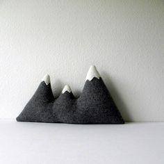 the Sisters - grey wool mountain range pillow. $60.00, via Etsy.