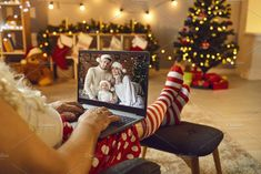 Ad: Relaxed Santa with laptop having by StudioRomantic on @creativemarket. Relaxed Santa Claus sitting in armchair with laptop having online video call with happy family on Christmas Day. Concept of quarantine, #creativemarket Technology Photos, Happy Family, Business Branding, Infographic, Santa, Gift Wrapping, Online Video, Concept, Table Decorations