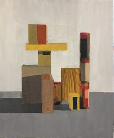 Buy nail boxes and wood stacked, a Acrylic on Wood by Stuart McHarrie from United Kingdom. It portrays: Still Life, relevant to: stacked, box, still life, geometrix, minimal Still life observation of boxes and wood arranged in geometric pattern in natural light, painted in acrylic paint on wood panel. the painting is unframed.
